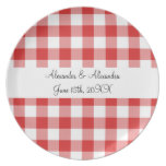 Red gingham pattern wedding favors plates