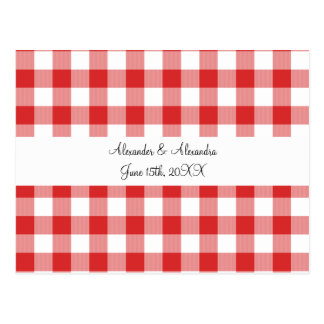 Red gingham pattern wedding favors postcards
