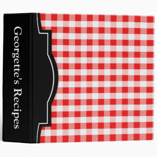"""Red Gingham personalized 2"""" Recipe Binder"""