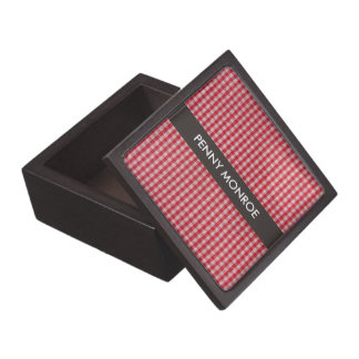 Red Gingham Personalized Jewelry / Trinket Box Premium Keepsake Box