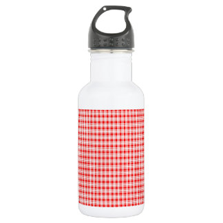 Red Gingham Plaid Water Bottle