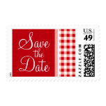 Red Gingham Postage Stamp