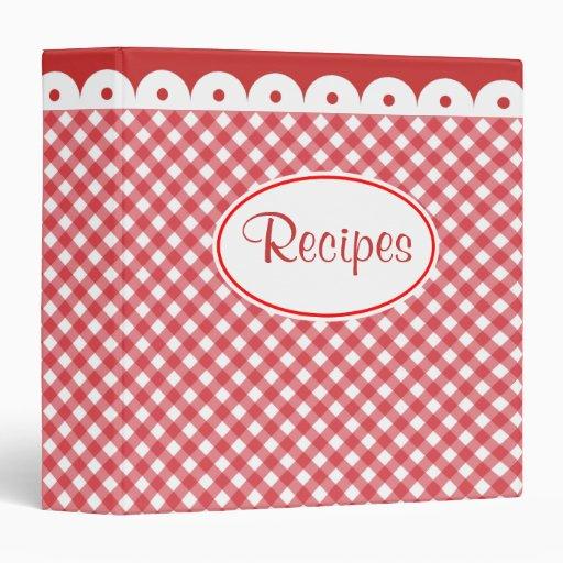 Red Gingham Recipe Binder