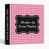 Red Gingham recipe binder   personalized cook book