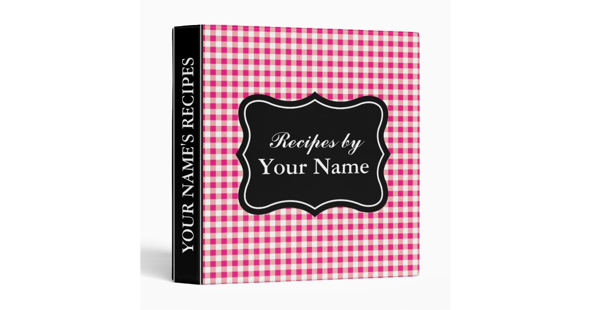 Cookbook Red Checkered Cover : Red gingham recipe binder personalized cook book