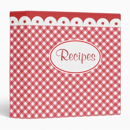Red Gingham Recipe Organizer Binder Gift