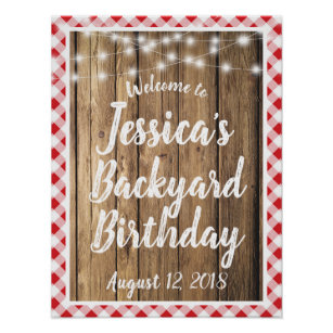 Red Gingham Rustic Wood Backyard BBQ Birthday Sign