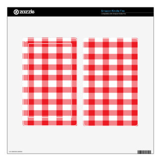 Red Gingham Decal For Kindle Fire