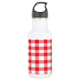 Red Gingham Stainless Steel Water Bottle