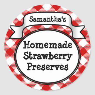 Red Gingham Strawberry Jelly Jam Jar Label