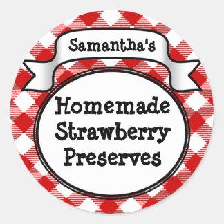 Red Gingham Strawberry Jelly Jam Jar Label Classic Round Sticker
