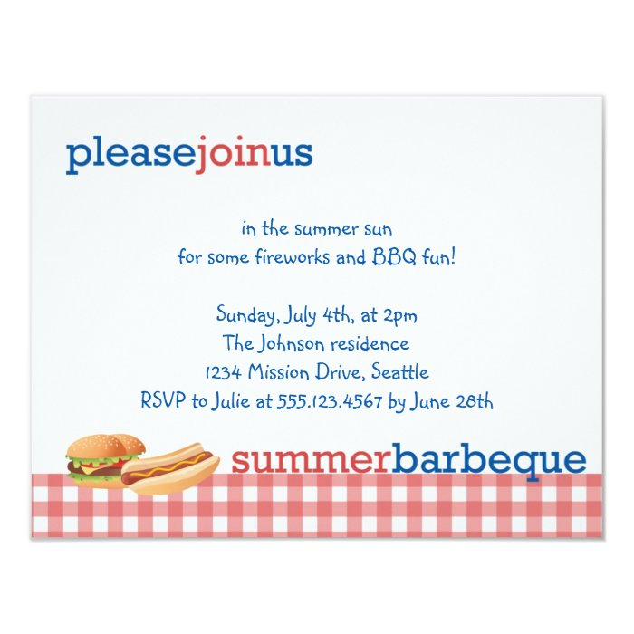 Red gingham summer barbeque July 4th celebration Card