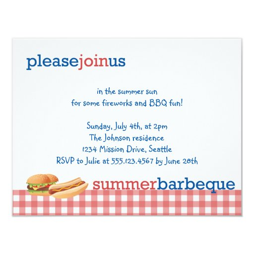 """Red gingham summer barbeque July 4th celebration 4.25"""" X 5.5"""" Invitation Card"""