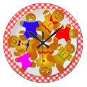 Red Gingham Tablecloth Plate of Gingerbread Men Large Clock (<em>$33.45</em>)
