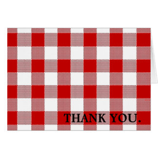 Red Gingham-Thank You Card