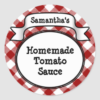 Red Gingham Tomato Sauce or Recipe Jar/Lid Label Classic Round Sticker