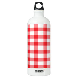 Red Gingham Water Bottle