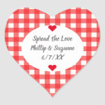 """Red Gingham Wedding Favor Jelly Jar Sticker Labels<br><div class=""""desc"""">A sweet design for wedding favor jelly jars, this heart shaped sticker label features a background in a timeless gingham pattern of red and white with a white oval and gray font. There are two red hearts and the names of the bride and groom with the wedding date and a...</div>"""