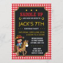 Red Gingham Wild West Dark Cowboy Birthday
