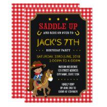 Red Gingham Wild West Dark Cowboy Birthday Card