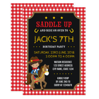 Red Gingham Wild West Tan Cowboy Birthday Card