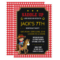Red Gingham Wild West Tan Cowboy Birthday Invitation