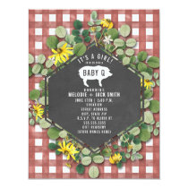 Red Gingham Wildflower Baby Q Baby Shower Invitation