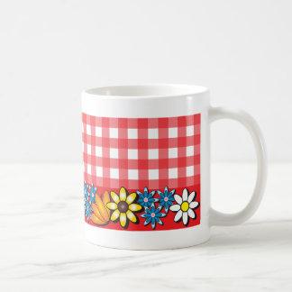 Red Gingham with Flowers Coffee Mug