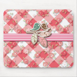 Red Gingham with Lovebirds Specialized Products Mouse Pad
