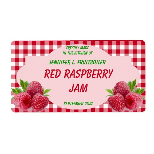 Red Gingham with Raspberries Jam or Food Labels