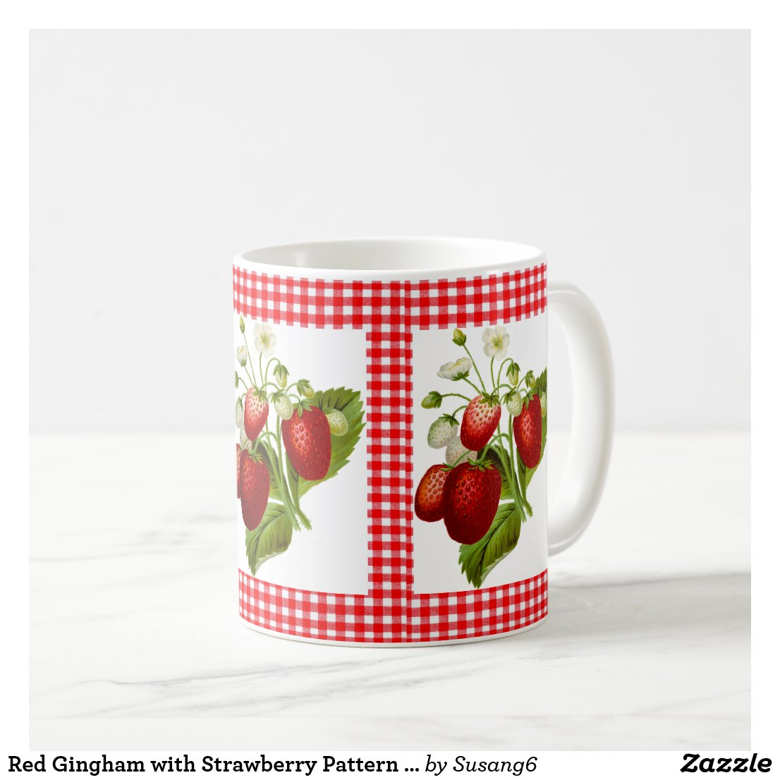 Red Gingham with Strawberry Pattern Coffee Mug