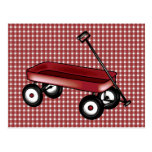 Red gingham with wagon postcard