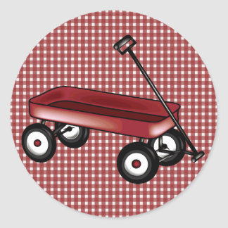Red gingham with wagon round sticker