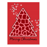 Red giraffe Christmas Tree Postcard