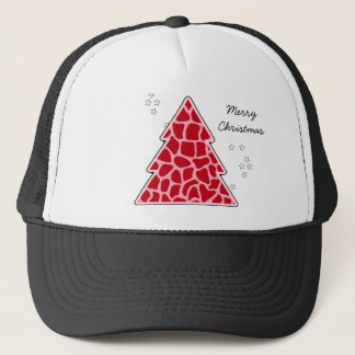 Red giraffe Christmas Tree Trucker Hat