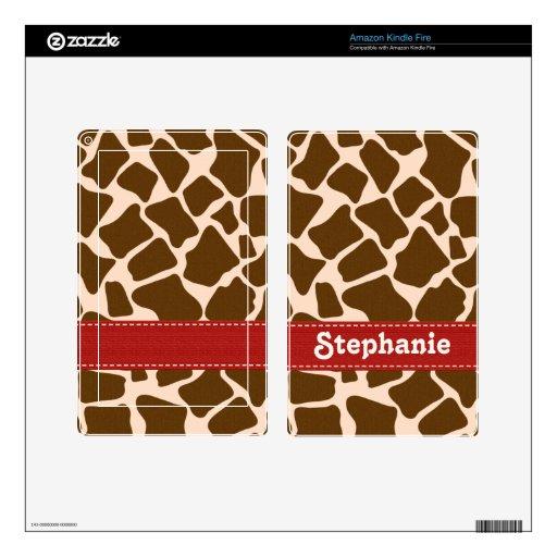 Red Giraffe Print Kindle Fire Skin
