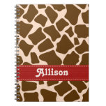 Red Giraffe Print Spiral Notebook Journal