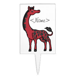 Red Giraffe with Black Spots Cake Topper