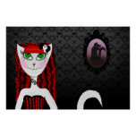 Red Girl Cat Poster