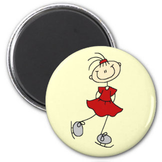 Red Girl Ice Skater T-shirts and Gifts 2 Inch Round Magnet