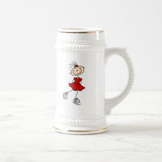 Red Girl Ice Skater T-shirts and Gifts Beer Stein