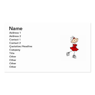 Red Girl Ice Skater T-shirts and Gifts Business Card
