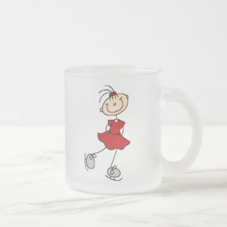 Red Girl Ice Skater T-shirts and Gifts Frosted Glass Coffee Mug