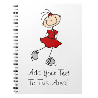 Red Girl Ice Skater T-shirts and Gifts Notebook