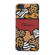 Red Girly animal print hearts with a name iPod Touch (5th Generation) Case