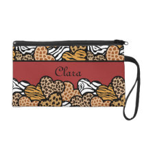 Red Girly animal print hearts with a name Wristlet Purse