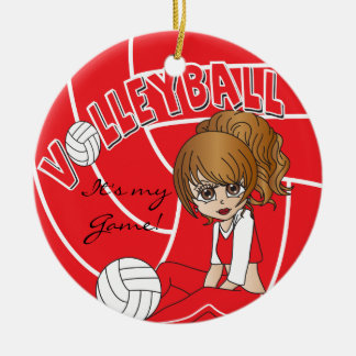 Red Girly Volleyball Ceramic Ornament