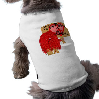 Red give peace a chance doggie t shirt