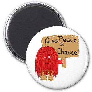 red give peace a chance 2 inch round magnet