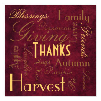 "Red ""Giving Thanks"" Thanksgiving  Invitation"